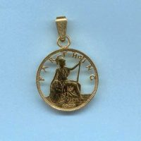 Gold plated cut Farthing pendant.