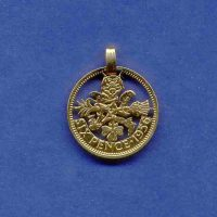 Cut out Sixpence coin pendant