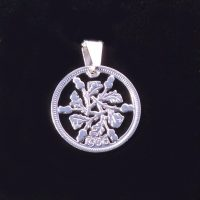 Silver sixpence coin pendant availble in 1928,1929,1930,1931,1932,1933,1934,1935,1936 for a personalised birth year gift