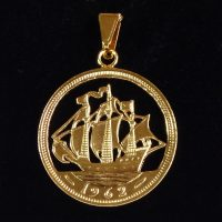 Coin necklace or coin pendant with a year of birth  1939 80th